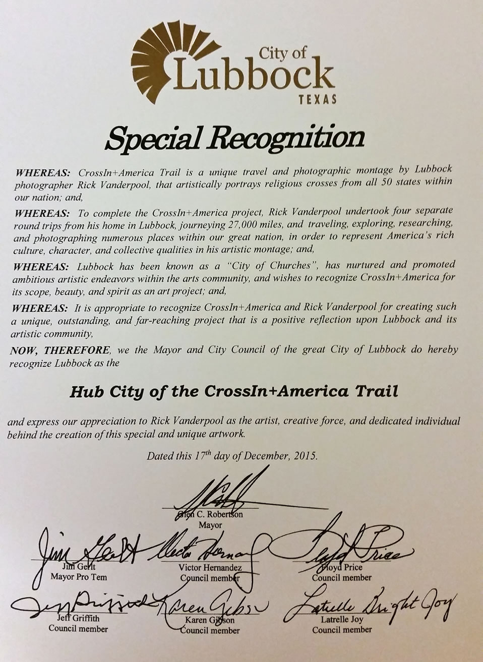 Special Recognition from City of Lubbock